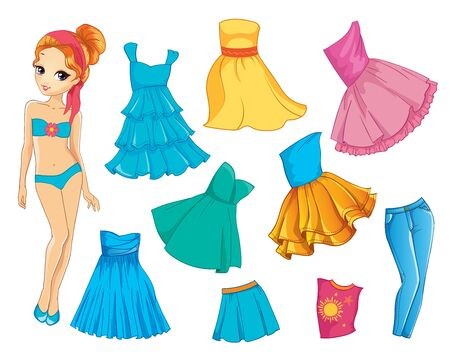 Paper Doll With Dresses And Jeans For Summer