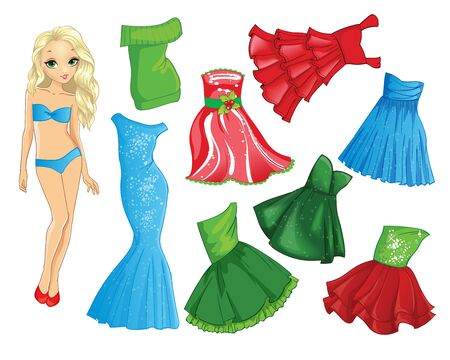 Paper Doll With Fashion Event Christmas Dress