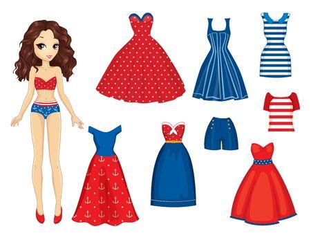 Muñeca de papel con conjunto de ropa de moda retro