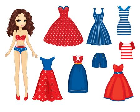 Paper Doll With Set Of Retro Fashion Clothes