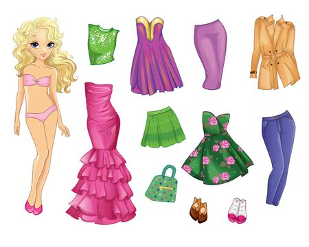 Paper Doll With Clothes In Pink And Green Colors
