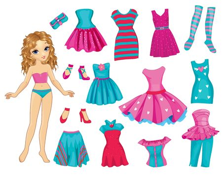 Paper Fashion Doll With Sweet Pink Dress