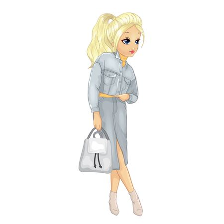 Blonde girl dressed in gray denim suit holds a backpack