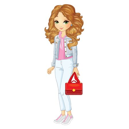 Girl In Denim Jacket And White Pants 向量圖像