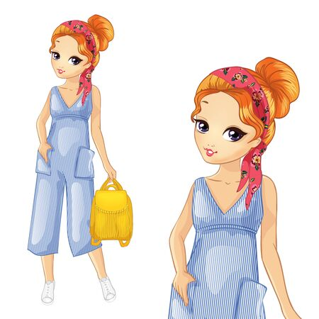 Red Haired Girl In Fashion Blue Striped Overalls