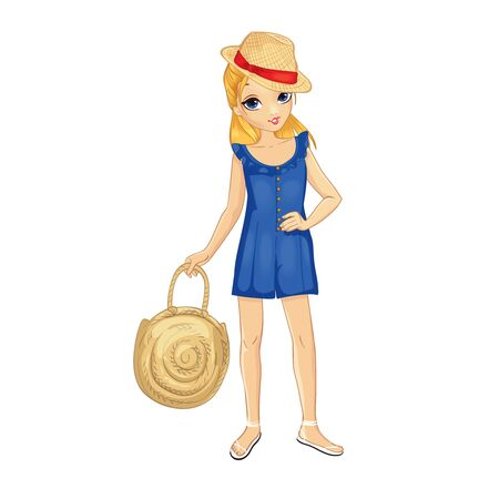 Blonde girl dressed in blue overalls holds big straw bag