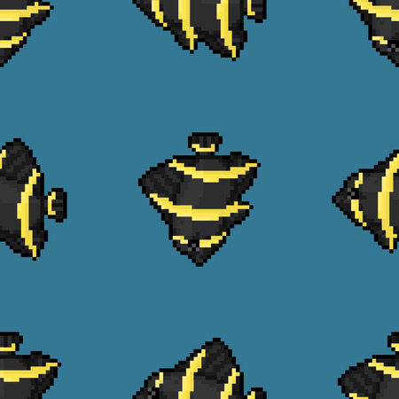 pomacanthus: French Angelfish, adult (Pomacanthus paru) seamless vector pattern, pixel style