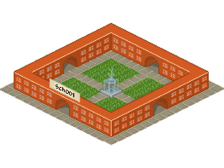 school yard: School building isometric style with internal yard Illustration