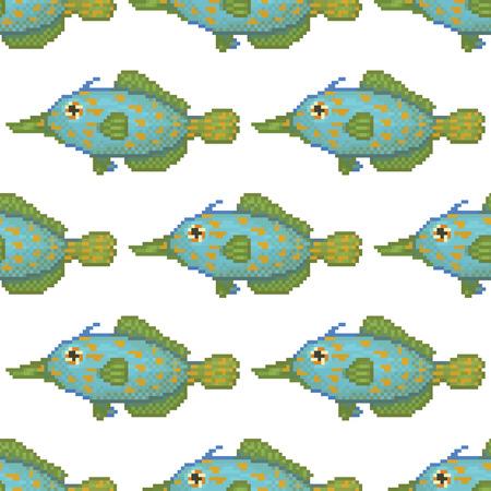 peces de agua salada: Peces de agua salada patr�n pixel art dibujos animados Vectores