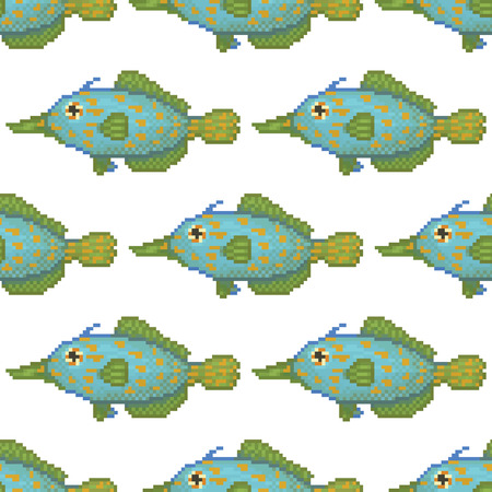 saltwater: Saltwater fish cartoon pixel art pattern Illustration