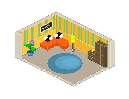 living skull: Pixel style vector living room