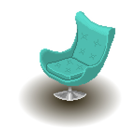 livingroom: Blue armchair in pixel style isolated Illustration