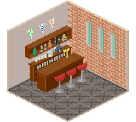 bar interior: Pixel style isometric bar interior