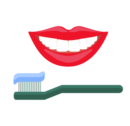 daily routine: Teeth daily hygiene routine, oral care, dental cleaning. White smile and red lips, smile with teets. Toothbrush with a paste on it. Illustration