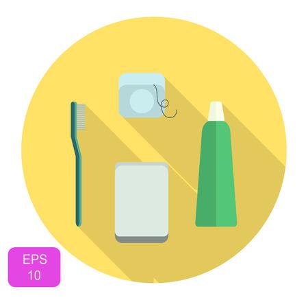 daily routine: Dental conjunto de iconos de la atenci�n, la rutina diaria de cuidado bucal, limpieza dental, ilustraci�n vectorial, plano y redondo con largas sombras.