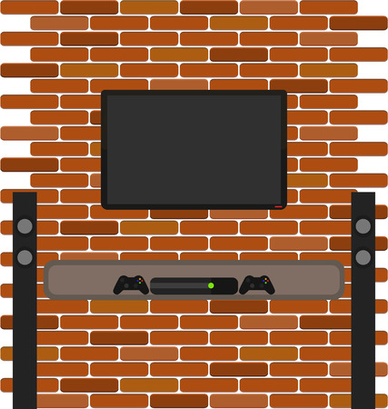 plasma tv: Vector brick wall with lcd screen and game console on the shelf. Tall sound dynamics near tv plasma for living room interior Illustration