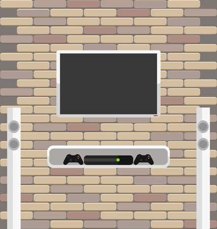 Vector brick wall with lcd screen and game console on the shelf. Tall sound dynamics near tv plasma for living room interior Vector