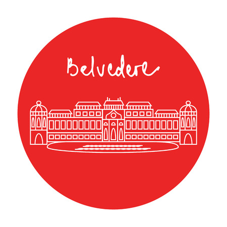 Austrian Belvedere historic baroque building vector red circle icon with handdrawn text above in white linear style.