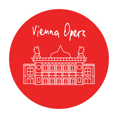 vena: Vienna Opera house building vector red circle icon with handdrawn text above in white linear style. Illustration
