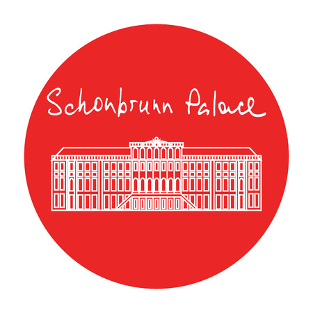 circle icon: Austria Schonbrunn Palace vector red circle icon with handdrawn text above in white in linear style. Flat design
