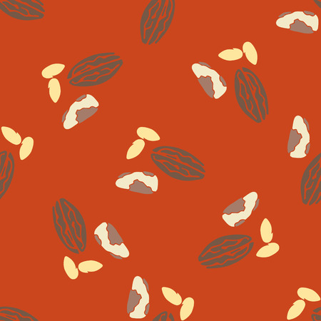 brazil nut: Nuts collection print seamless pattern. Vector nut set. Tileable background for fabric and texture