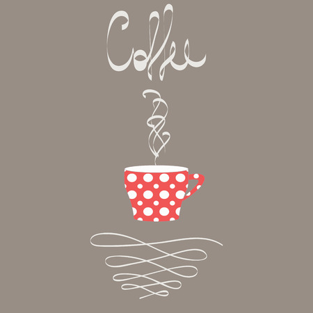 Cup of hot coffee in retro style. Red cup with white polka dot pattern. A steam rising from cup illustration. Calligraphy elements and swirls