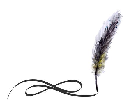 pluma de escribir antigua: Pluma de la acuarela pluma de escribir con remolino tinta.