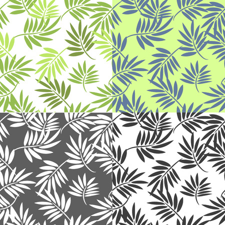 subtropical: Palm leaves seamless pattern, 4 in a set, wallpaper and fabric print.