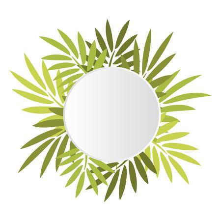 feuille arbre: Bannière blanche ronde avec palmiers feuilles vertes