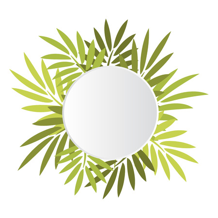 jungle foliage: Round white banner with palm green leaves