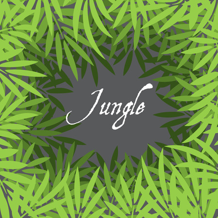 sfondo giungla: Sfondo della giungla con foglie di palma illustrazione Vettoriali