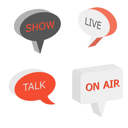 talk show: On Air sign, talk show symbol, live cast 3d vector bubbles. Isometry box speech tags