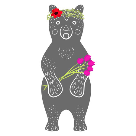 Standing grey bear cartoon animal with flowers in arms, textured fur, hand drawn style. Silhouette of a grizzly with headband wreath laurel card or book design Vector