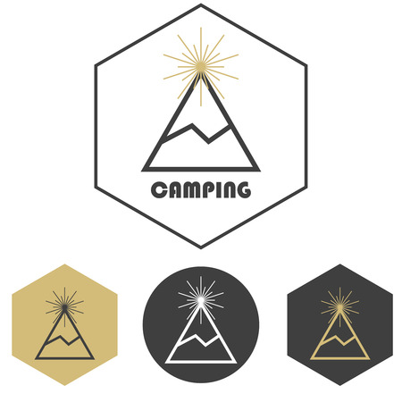 Mountain camping vector logo, set of gold and grey icons badges. Adventure travel hiking or ski resort concept. Outdoors vacation emblem. Vector