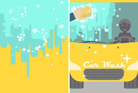 Vector car wash banner for advert. Yellow automobile with water and hand sponge washing. Vehicle cleaning and polish service flyer
