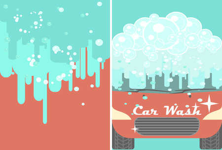 Vector car wash banner for advert. Red automobile with water under automatic bubbles washing. Vehicle cleaning and polish service flyer