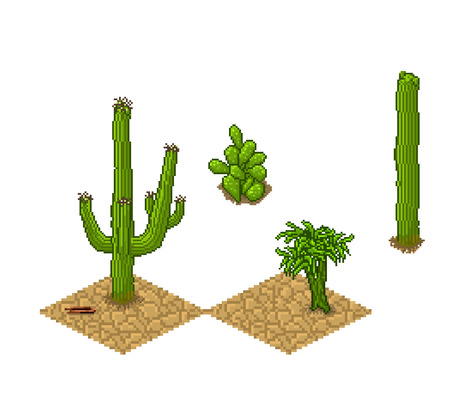 genre: Pixel art cactus sprite tileset and plants on chapped ground . Vector game assets for wild west genre