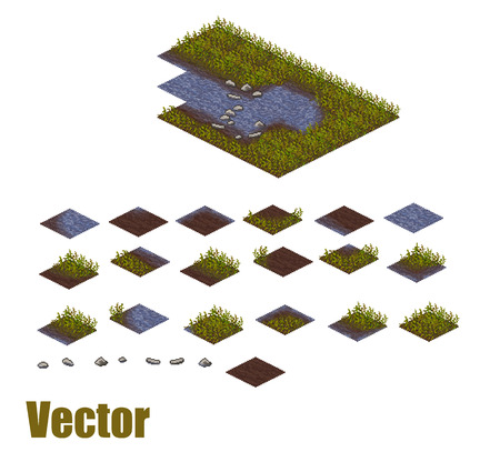 Pixel art river and grass sprite tileset. Water, ground and land tiles. Vector game assets