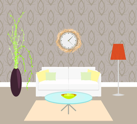 taupe: Living room interior sofa with pillows and lamp on the floor, vase with plant and clock on the wall, modern elegant taupe wallpaper, branch frame, apples on the table