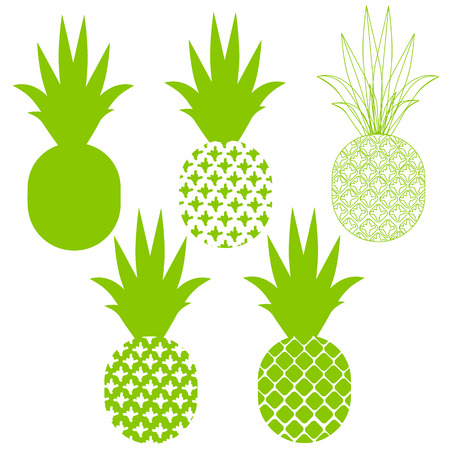 Pineapple vector silhouettes in green different variants in a set