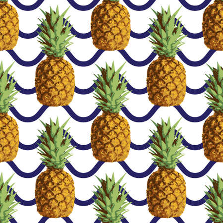 Vector seamless repeating pineapple pattern with blue wave stripes on white background Vector
