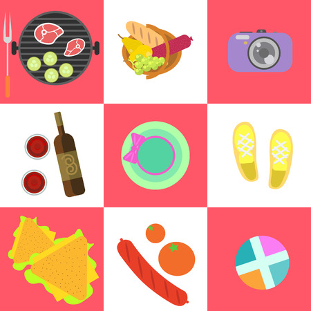 Set of picnic icons and barbeque outdoor family weekend objects in flat style. Food, grill, camera, clothes, keds, wine on square checkerboard background