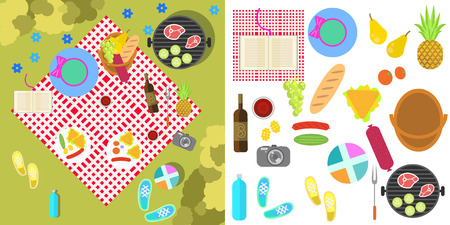 picnic blanket: Summer picnic nature landscape with blanket, grill and basket of food, fruits, vegetables, top view. Family holiday outside the city in park camp. Isolated barbeque flat objects on white Illustration