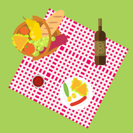 picnic blanket: Outdoor dining in meadow on the grass flat illustration. Picnic for one family. Basket full of food, fruits, vegetables, bread and meat. Glass of wine and plate on a blanket cloth
