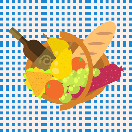 bread and wine: Picnic food barbecue basket of fruit and vegetables on a blue seamless checkered gingham tablecloth. Outdoor dinning in meadow with wine, sandwich, bread and ham Illustration