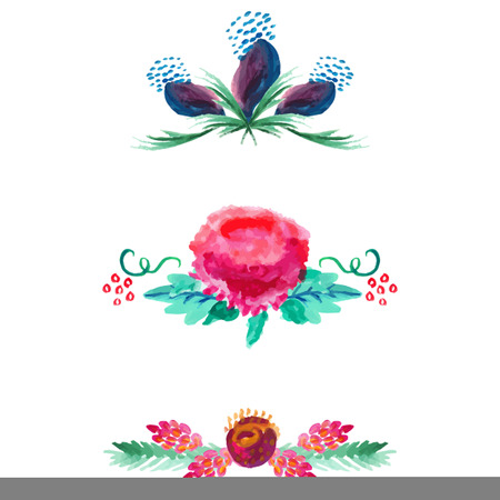 violet flower: Watercolor borders and dividers decorative elements set isolated on white for site and card design. Roses, violet flower and leaves branches. Illustration