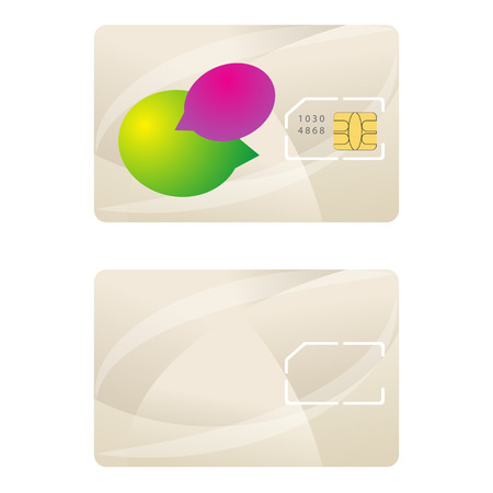 bubble speach: Sim card template telecommunication design vector. Beige abstract background emty with bubble speach concept.