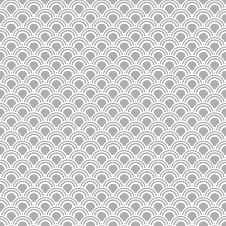 duo: Japanese seamless vector pattern. Traditional oriental wave background. Grey and white circle mesh.