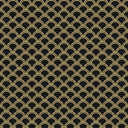 Japanese seamless vector pattern. Traditional oriental wave background. Black and gold circle mesh
