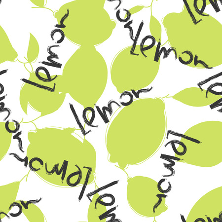branch cut: Green lime and lemon fruits on white background. Citrus seamless silhouette vector pattern. Lemon typography word